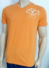 American Eagle Outfitters AEO Tee Mens Orange V-Neck Embroidered T-Shirt New NWT