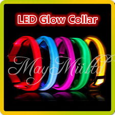 5 Color LED Glow Collar Dog Puppy Pet Tag Flashing Light Nylon leash harness J