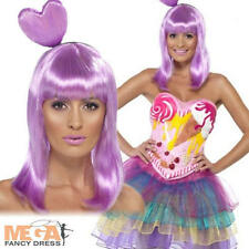 Candy Queen Fancy Dress Ladies Pop Star Katy Perry Celebrity Costume + Wig 6-14
