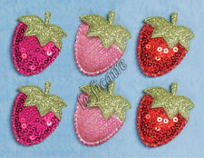 "U PICK ~ 1.25"" Padded Sequin Satin Strawberry Appliques DIY Crafts x 24pcs #2715"