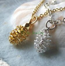 Handmade Real Pinecone Pendant Necklace in Yellow Gold or Sterling Silver Dip