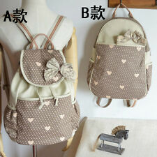 Fashion Cute Women Girls Lace Drawstring Vintage Canvas Rucksack Backpacks Bags