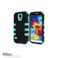 For Samsung S5 screen protector & Heavy Duty Light Blue Hybrid Rugged Hard Case