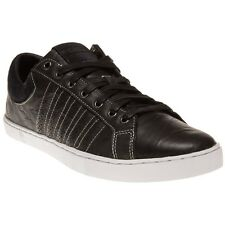 New Mens K-Swiss Black Adcourt '72 Leather Trainers Tennis Style Lace Up