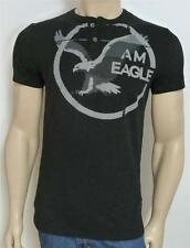American Eagle Outfitters AEO Mens Black Graphic 2-button Henley Shirt NWT New