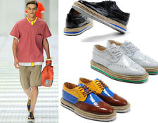Mens Vintage Brogues Lace Up Punk Oxford Flat High Platform Creeper Shoes New