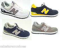 NEW BALANCE ML 574 WTN/ BKR/ GS SCARPE UOMO PELLE+TESSUTO WHITE/BLACK/SUEDE GREY