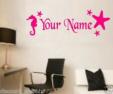 SEA HORSE & STAR FISH  *PERSONALIZED NAME DECAL STICKER SALT SEA LIFE WALL ART
