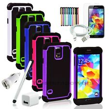 For Samsung Galaxy S5 SV Triple-layer Thick Silicone Plastic Case 7 in 1 Package
