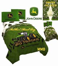 JOHN DEERE Tractor FARM Boys Twin & Full Sizes Green Camo Comforter Set+Curtains