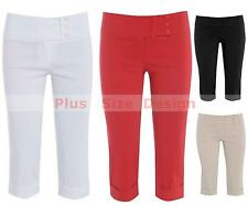 NEW LADIES WOMENS PLUS SIZE 3/4 PEDAL PUSHER CAPRI PANTS BLACK WHITE SIZE 8-26