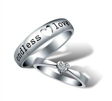 Endless Love Lovers Couple Ring White Gold GP CZ Engagement Women's Wedding Band