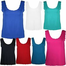 New Ladies Plus Size Laser Cut Scallop Mini Vest Womens Trendy Tops 12-26