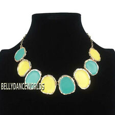 GOLDEN CHAIN IRREGULAR ENAMEL PENDANT BIB STATEMENT NECKLACE FASHION JEWELRY NEW