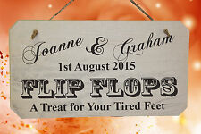 PERSONALISED Wedding FLIP FLOP Wooden Sign ❤ Shabby Chic ❤ Rustic White/Natural