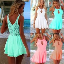 Sale! Women Sexy Sleeveless Lace Chiffon Jumpsuit Rompers Shorts Playsuit NEW -H