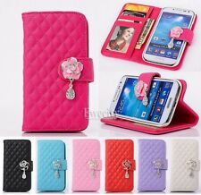 Luxury Deluxe Grid Wallet Flip Stand PU Leather Case Cover For Samsung/iPhone