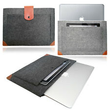 Smart Laptop Felt Sleeve LEATHER STRAP Case Cover Bag for Apple MacBook