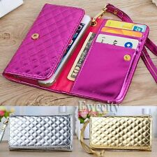 Luxury Deluxe Bling Grid Handy Wallet Pouch PU Leather Case Cover + Wrist Strap