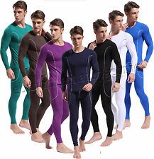 New Sexy Men's Bamboo Fiber Long Sleeve Shirt + Long Johns Thermal Underwear Set