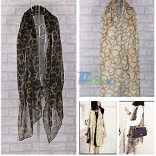 Women Chain Chiffon Silk Like Sarong Wrap Long Scarf Coverup Stole Sheer Shawl