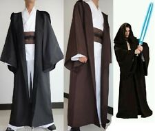 Hollowen Star Wars F Jedi OBI/Sith black/brown Hooded Costume Robe Cloak Cape