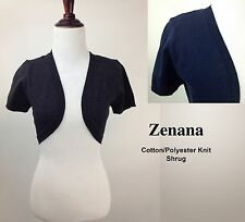 NWOT ZENANA Cotton Poly Knitted Shrug Bolero Jacket Short Sleeve Open Front