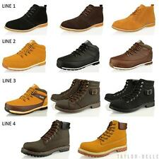 MENS CASUAL HIKING WALKING WORK LACE UP OUTDOOR ANKLE BOOTS LEATHER SHOES SIZE