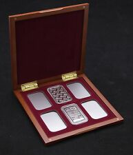 Cherry Wood Display Case for 6 1oz Silver Bars in Airtite Capsules, Burgundy