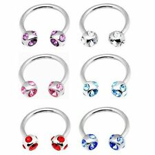 EJ Horse Shoe Piercing Ear 5 GEM 6 Colors to choose from