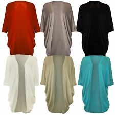 New Ladies Plus Size ¾ Batwing Sleeve Long Knit Cardigan Top 12-22