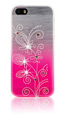 Bling Diamond Fitted Soft Back Gel Case Floral Silicone Cover For Smart Phones