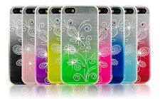 Bling Diamond Fitted Soft Back Gel Case Floral Silicone Cover For Apple Phones