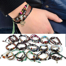 28styles Women Men Multilayer Leather Bead Rope Bracelet Bangle Chain Link Charm