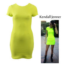 Ladies Neon Fitted Mini Dress Womens Celebrity Inspired Kendall Jenner size8-14
