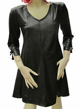 Orig. Magna Lightweight Dress, Leather Look, Black, Size 10 To 30