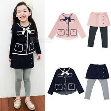Kids Girl Bow Button Down Sleeved Top Shirts Skirt Pants Clothes Sets 2-7Y FT917