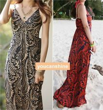 Summer Womens V-Neck Slim Beach Bohemia Bikini Cover Up Maxi Sun Top Long Dress