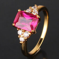 24k yellow gold filled Vintage style Radiant Eternity ruby ring Sz5-Sz9