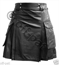 Leather Utility Kilt Twin CARGO Pockets Pleated with Twin Buckles Mans Mens