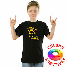 FACORP - Kids Boys Black T-Shirts Print Monkey Funny Message Lets Monkey