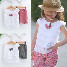 Kid Child Girl Leisure Party Bowknot Lace Grid Shorts T-shirts Shorts Set