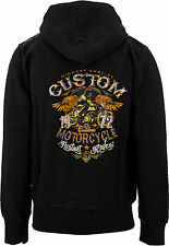 Biker Custom Motorcycle Zip Front Hooded Fleece Sweatshirt Black Hoodie M- 3XL
