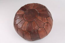MOROCCAN VINTAGE DARK + BROWN STITCH LEATHER POUFFE/FOOTSTALL FILLED or UNFILLED