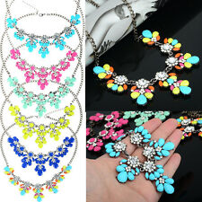 New Style Women Vintage Crystal Flower Crystal Bib Choker Statement Necklace