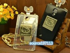 Luxury Hello Kitty Bottle Shaped Clear TPU Full Cover Case For Samsung Galaxy S4