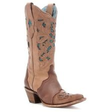 Corral Ladies Brown/Turquoise Floral Tool Boot C1620 New