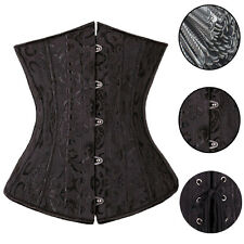 28 Spiral Steel boned Underbust Lace up Black Brocade Waist training Corset RW