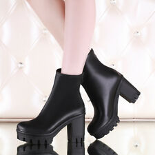 Fashion Womens Chunky Heel Round Toes Platform Back Zipper military boots Shoes