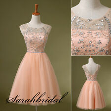 Fashion Cap Sleeves Crystals Short Homecoming Prom Gowns Party Cocktail Dresses